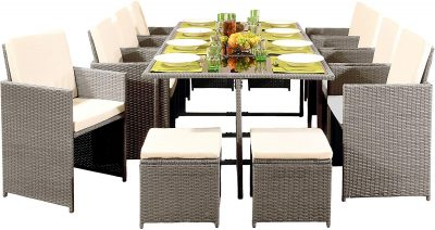 12 Seater Rattan Outdoor Garden Furniture Set - 8 Chairs 4 Stools & Dining Table