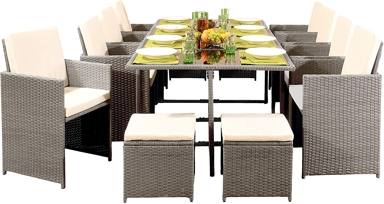 12 Seater Rattan Outdoor Garden Dining Set Astonshedsuk