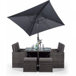 Rattan Cube Dining Set Square 4 Seater