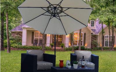 Overhang garden parasols ideas