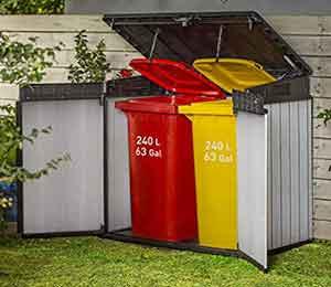 wheelie bin storage for two bins